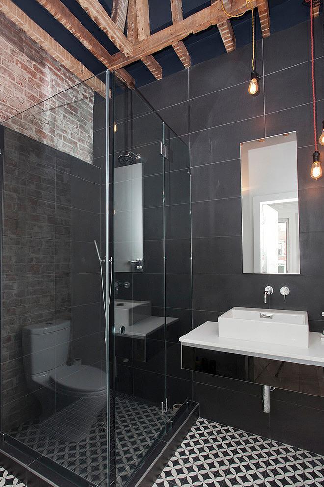 Eclectic bathroom with barn beams
