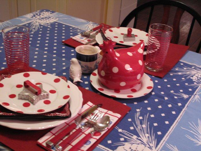 Festive table for 4th of July with decoration in white, red and blue colors