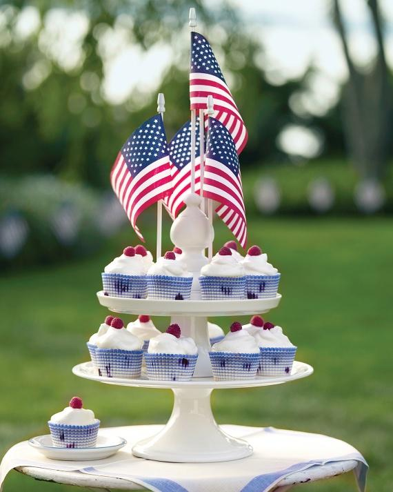 Flag Cake-Stand Monument is a patriotic display at the outdoor party for 4th of July