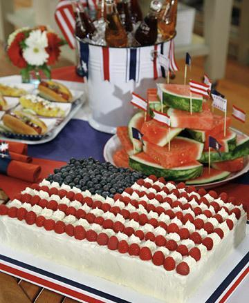 Flag Sheet Cake made of cream, raspberries and blueberries