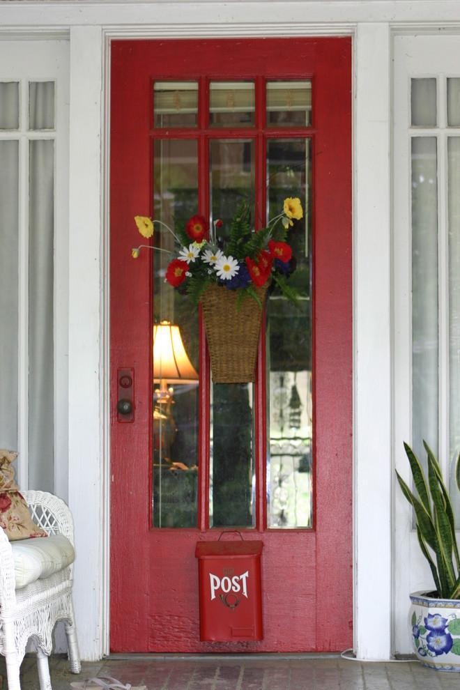 Front door in white, red and blue colors for the Independence day