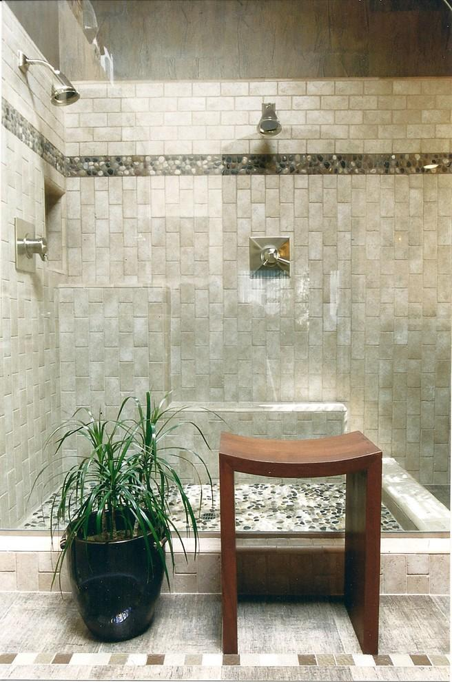 Japanese bathroom in asian style with rocks and stones in the interior