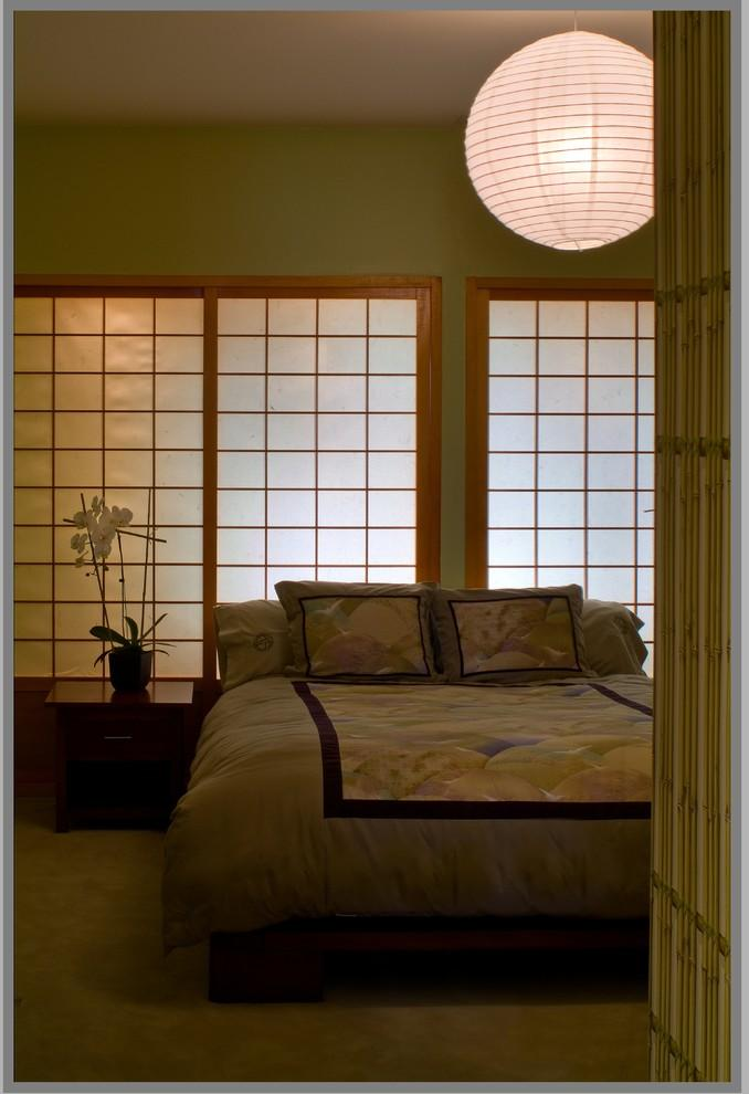Japanese bedroom with Shoji screens and interesting asian pendant