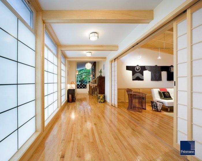 Japanese living room in natural colors with wooden floor