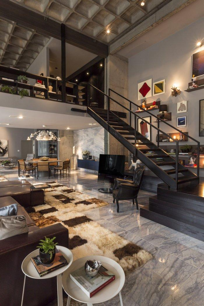 Luxurious loft design with marble floor and expensive rug