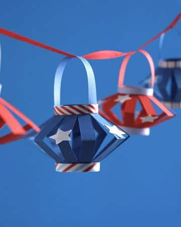 Red, White, and Blue Lanterns for outdoor used at the Fourth of July Party