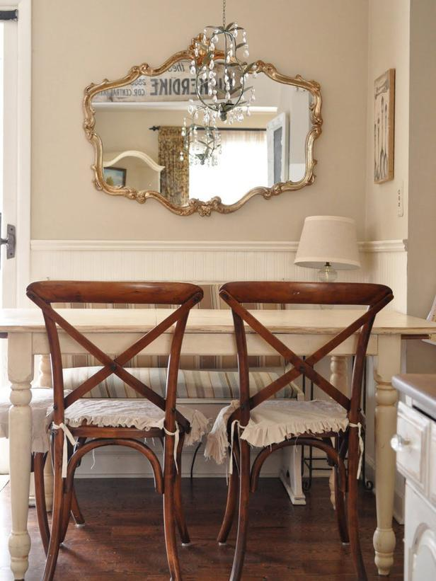 Shabby chic breakfast corner with welcoming charm for early mornings