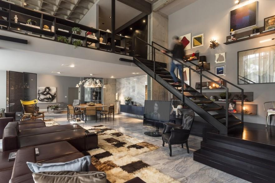 Artwork and Contemporary Interior Design in a Modern Loft Founterior