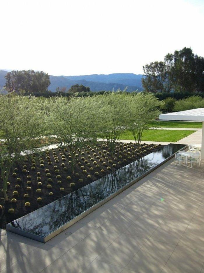 Artificial garden with short trees