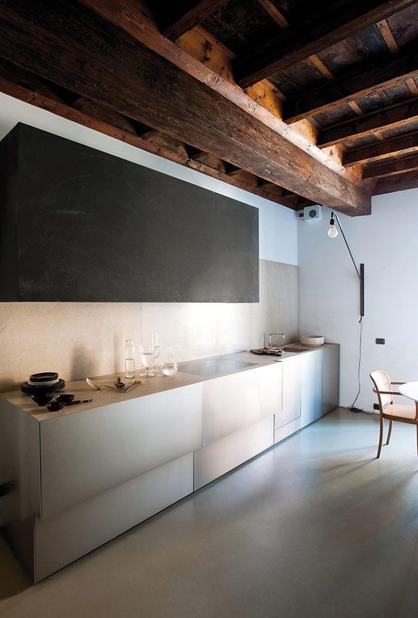 Barn beams in a modern kitchen