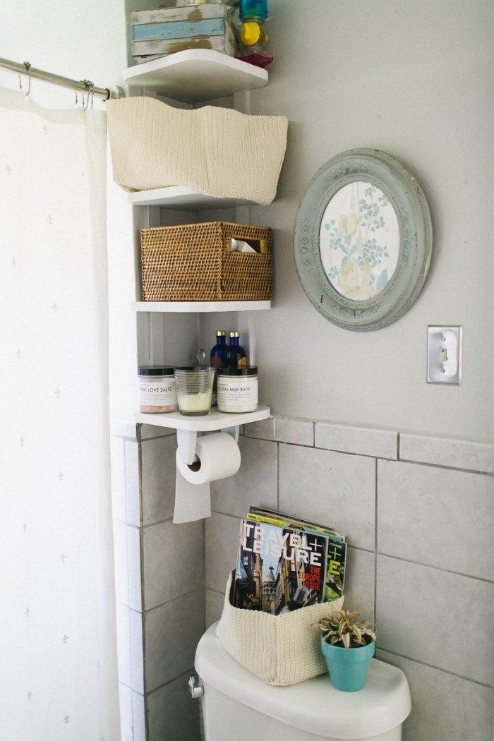 Bathroom shelves inside the beach home in Denver