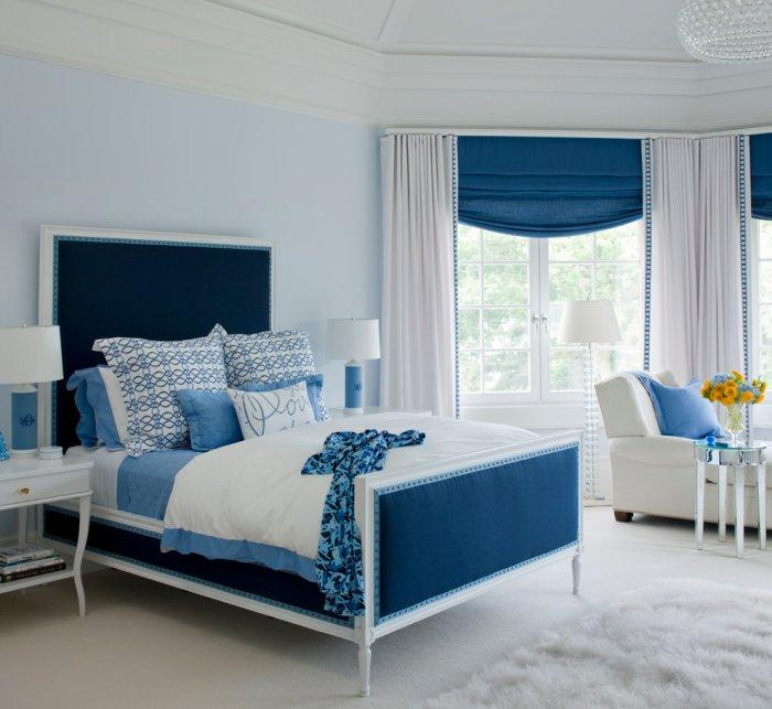 Bedroom designs and ideas for decoration and interiors founterior - White and blue in interior design an ideal combination ...
