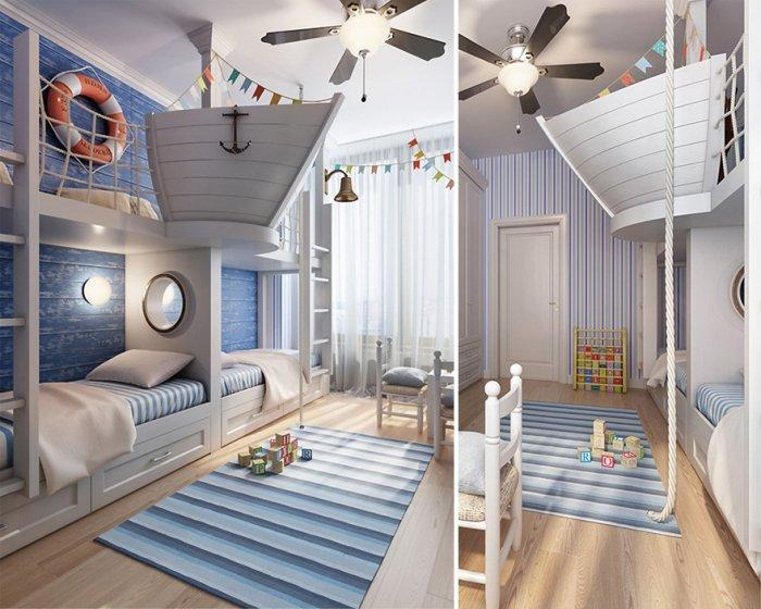 Boys' bedroom with ships decorations