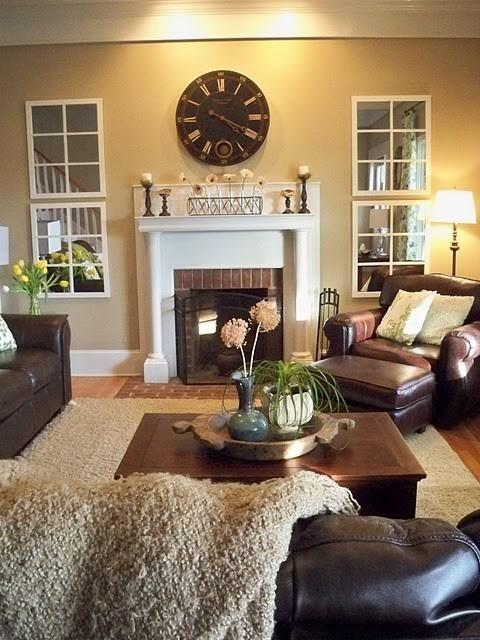 Brown American living room with huge clock above the fireplace