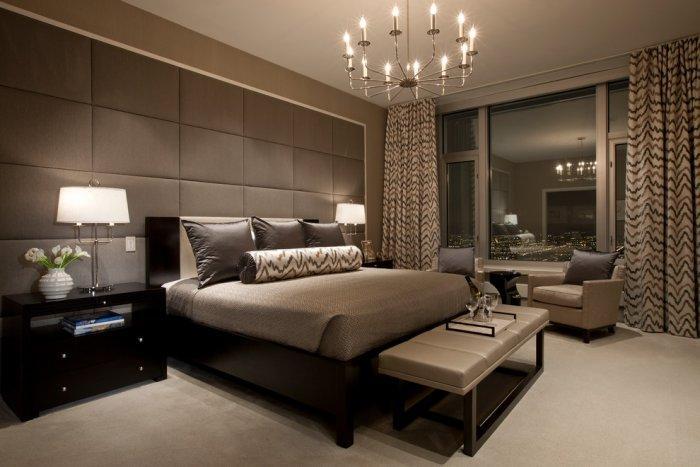 Brown bedroom interior looking like a hotel room