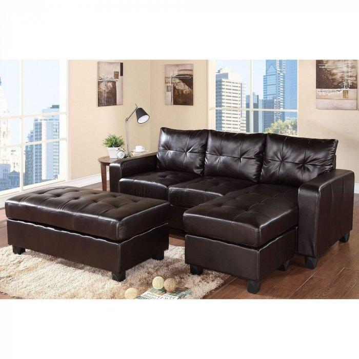Brown sectional sofa made of luxurious leather