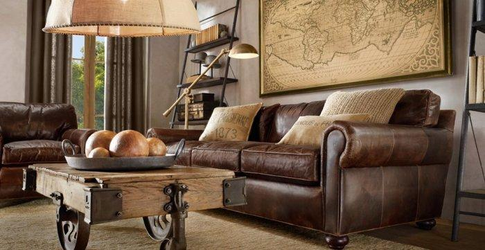 Brown traditional living room with leather sofas and wood table