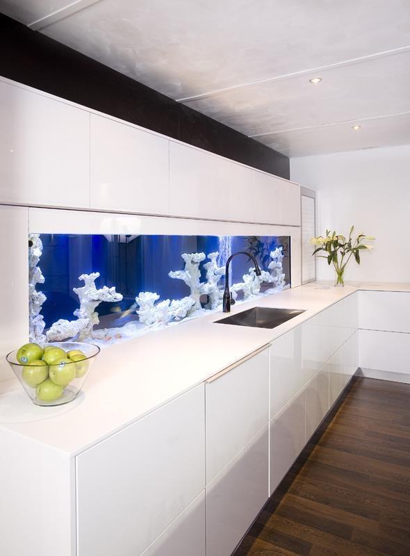 Built-in aquarium in a white modern kitchen