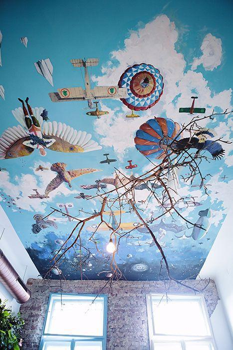 Cafe ceiling design painted by a famous abstract artist