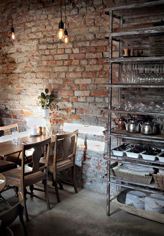 Cafe With Brick Wall And Industrial Light Bulbs As