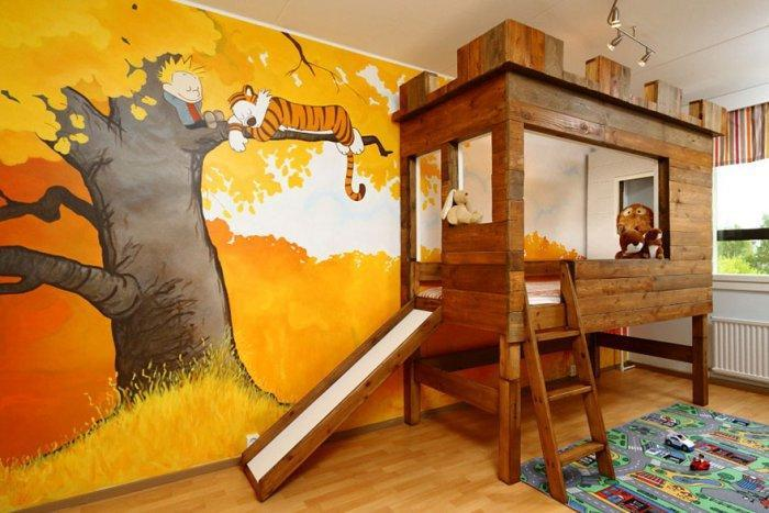 Cartoon character kids' room with interesting bed