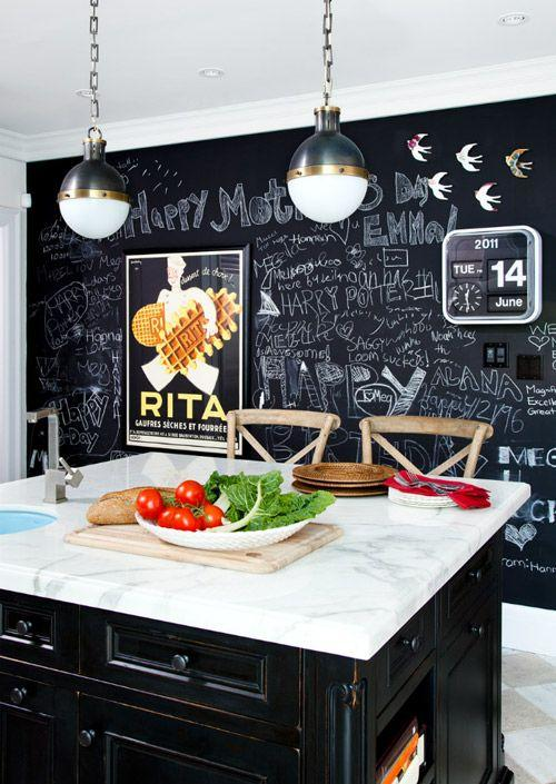 Chalkboard pain inside a modern kitchen