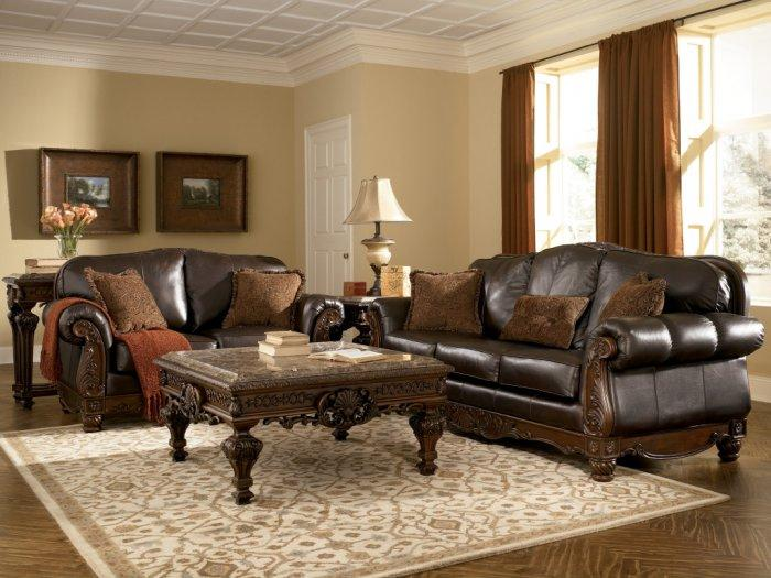 Classic brown living room with expensive leather sofas