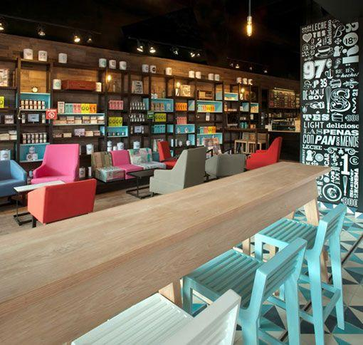 Colorful cafe interior with a lot of bookshelves