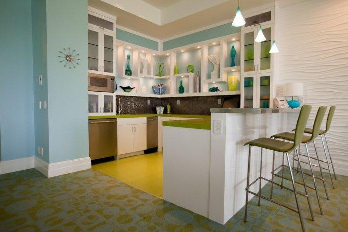 Colorful kitchen with interesting design