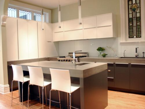 Contemporary kitchen with modern bar stools
