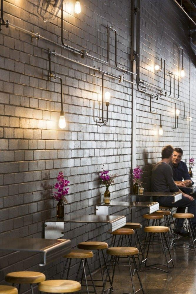 Cafe Interior Design Ideas find this pin and more on restaurant ideas cafe interior design Creative Cafe Design With Small Wall Tables And Stools
