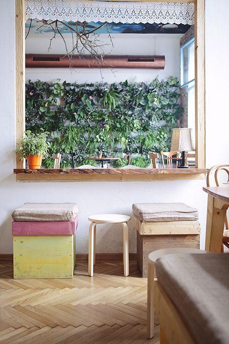 Creative coffee shop with unique sitting furniture