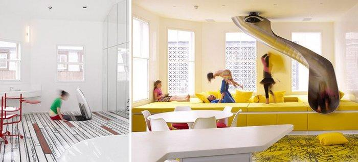 Creative kids' playroom with slide passage