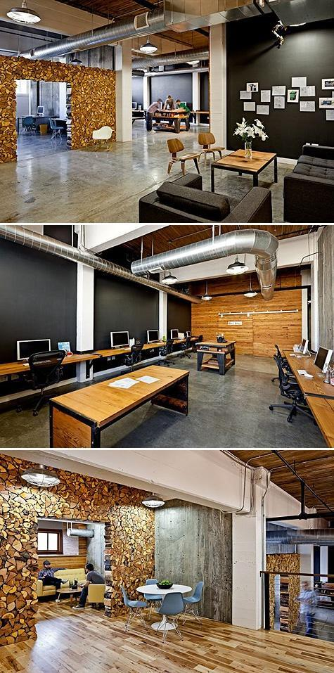Creative office interior with modern working areas