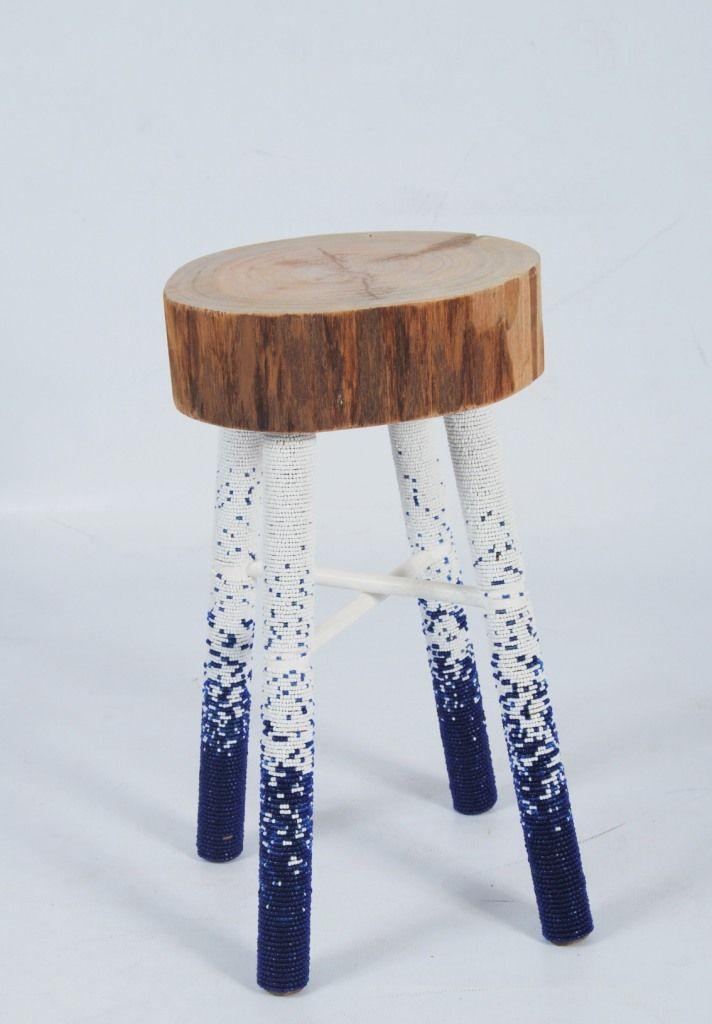 Creative stool with wood seat