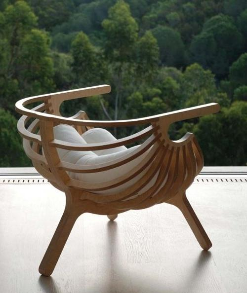 Creative wood armchair placed on the front porch