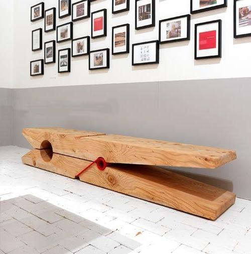 Creative wood bench looking like a clothes-peg