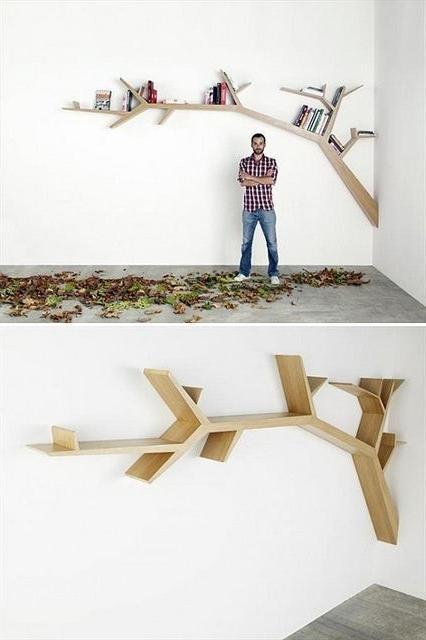 Creative wood bookshelf that looks like a branch