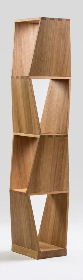 Creative wood bookshelf with interesting shape