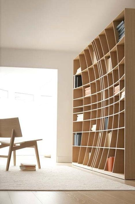 Creative wood bookshelves that form a home library