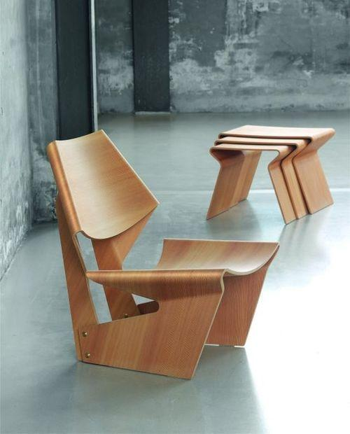 Creative wood chair in industrial interior