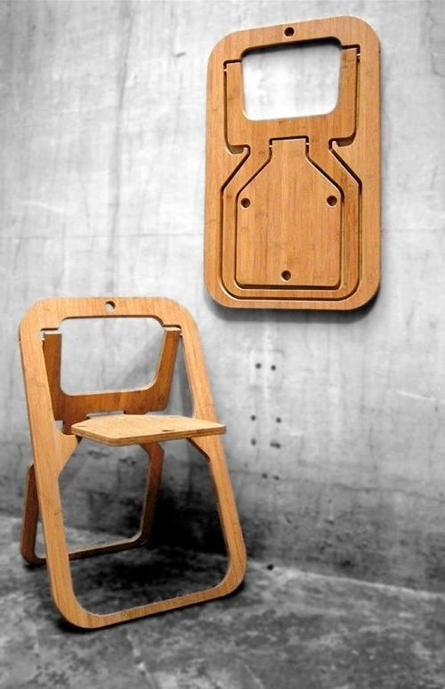 Creative wood chair that can be folded