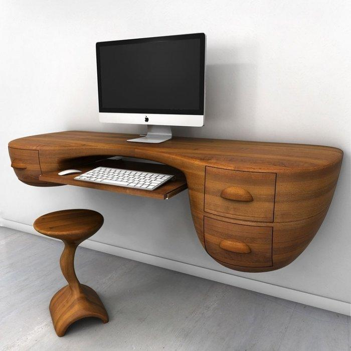Creative wood desk with apple monitor on it