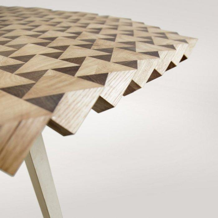 Creative wood dining table with triangular patterns
