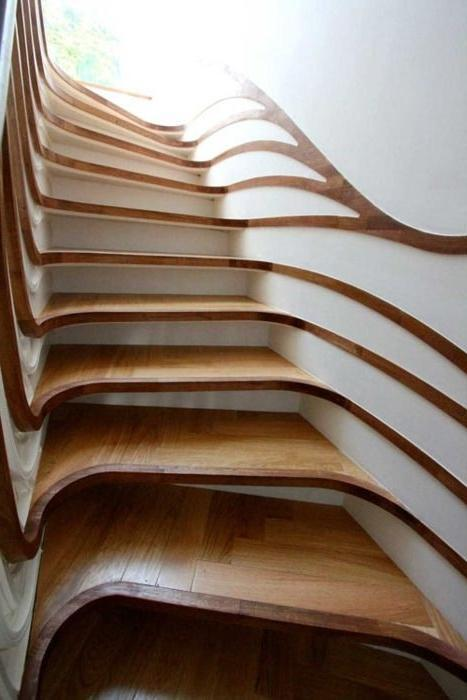 Creative wood stairs leading to the second floor