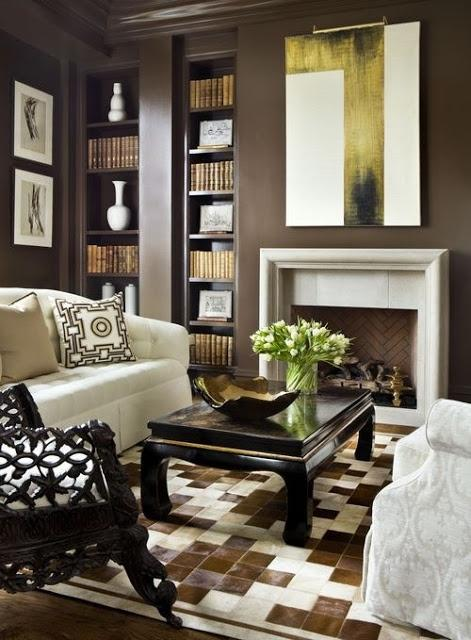 Dark brown walls in a modern traditional living room