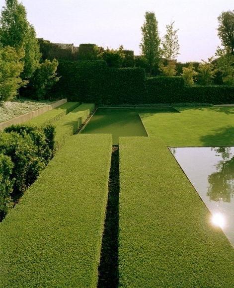 Dobule-lined hedge in a beautiful garden