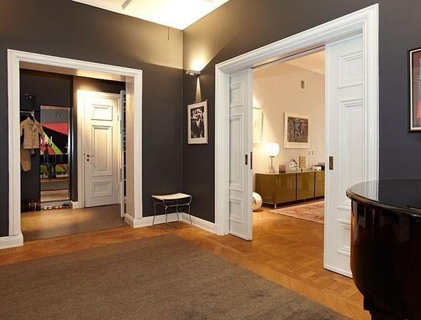 Eclectic loft with dark walls