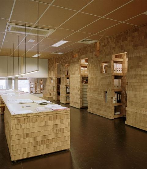 Eco friendly office design made of cardboard