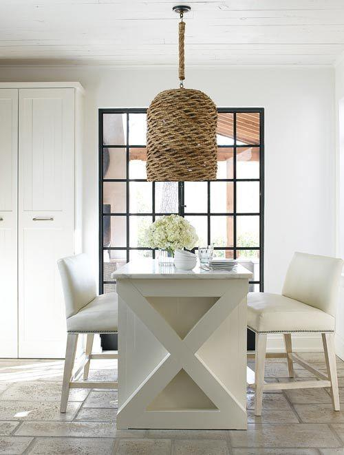 French kitchen design with white table and chairs